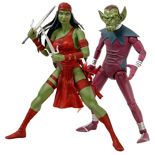 SDCC Exclusive Marvel Skrull and Elektra Action Figures