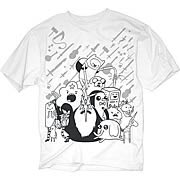 Adventure Time Monotone Characters White T-Shirt