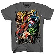 Marvel Heroes Slices Charcoal T-Shirt