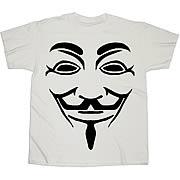 V For Vendetta Black Line Mask White T-Shirt