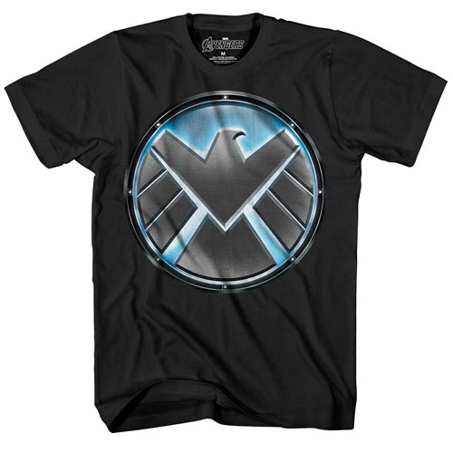 Avengers S.H.I.E.L.D. Logo Glow-in-the-Dark Black T-Shirt