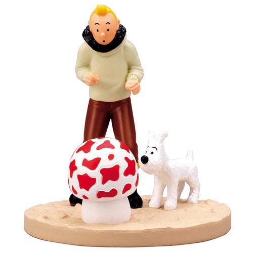 Adventures of Tintin Shooting Star Mushroom Scene Statue