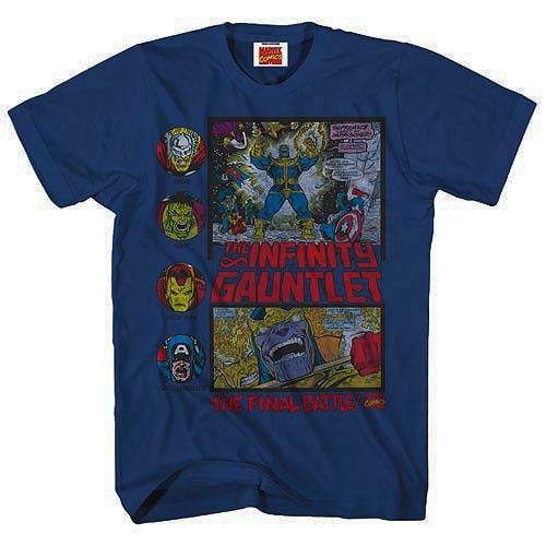 Marvel Heroes Fight Thanos Heather Navy Blue T-Shirt
