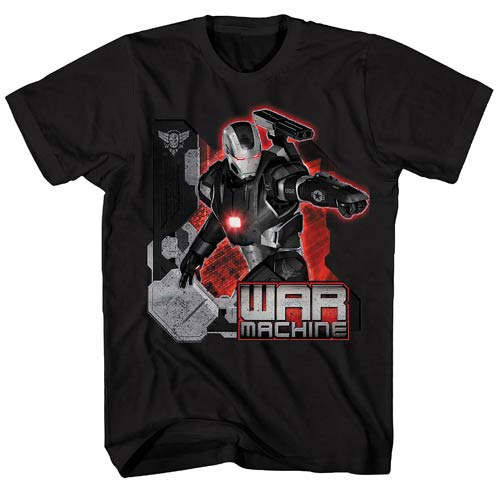 Iron Man 3 War Machine Point Distress Black T-Shirt