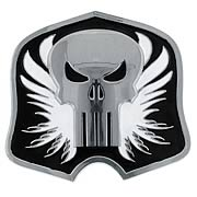 Punisher Shield Silver and Black Belt Buckle