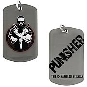 Punisher Crossed Guns Dog Tag Necklace