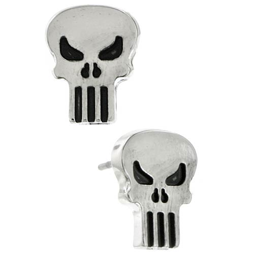 Punisher Silver Tone Stud Earrings
