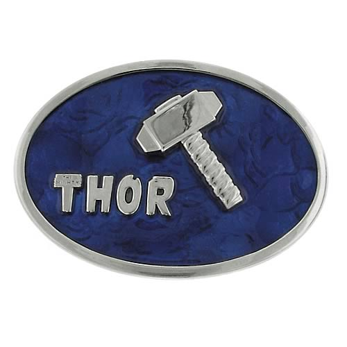 Thor Mjolnir Hammer Silver and Blue Belt Buckle