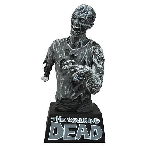 Walking Dead Zombie Black and White Bust Bank