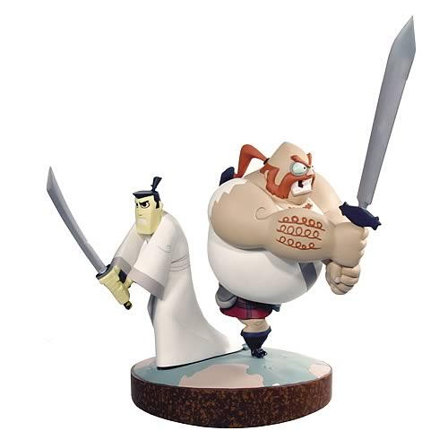diamond select samurai jack statues samurai jack and scotsman statueSamurai Jack Scotsman