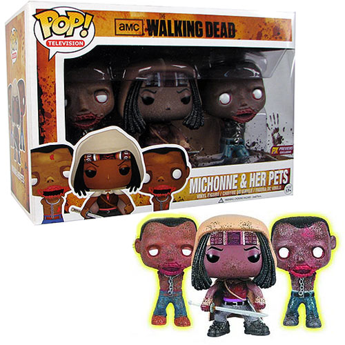 Walking Dead Michonne & Glow-In-Dark Pet Zombies Pop! Vinyl