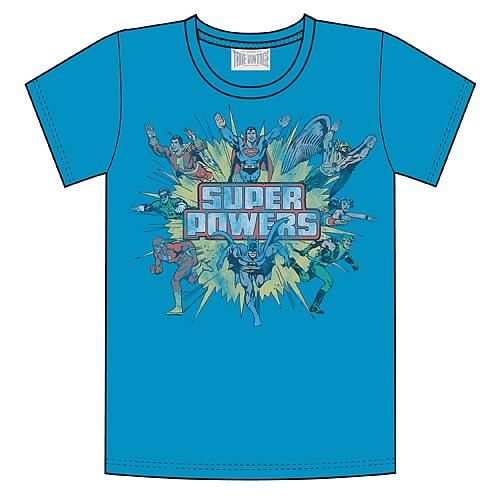 DC Comics Super Powers Turquoise T-Shirt