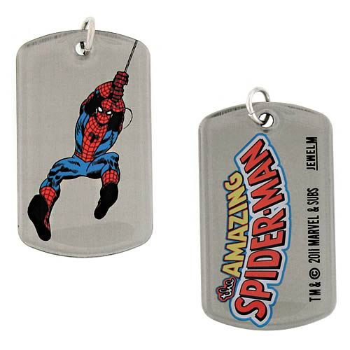 Spider-Man Swinging Double Sided Dog Tag Necklace