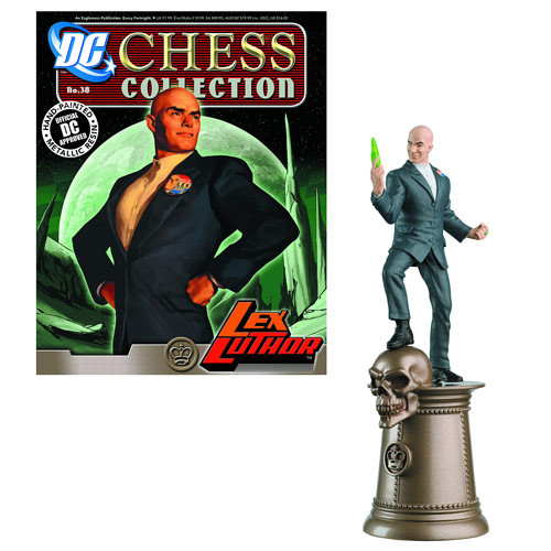 DC Superhero Lex Luthor Black King Chess Piece and Magazine