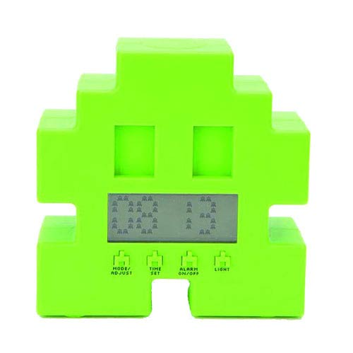 Space Invaders Green Alarm Clock