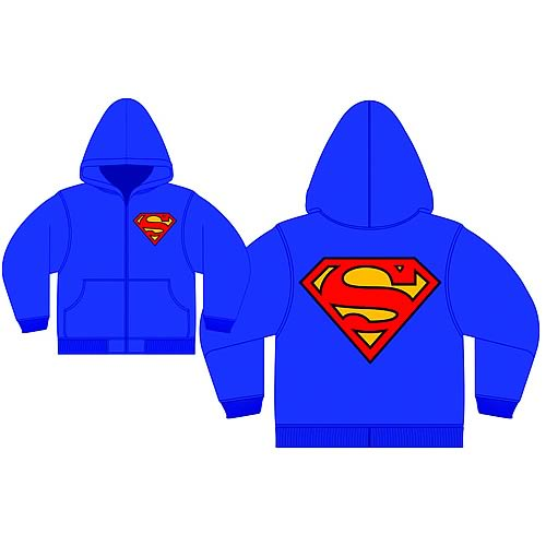 Superman Logo Blue Zip-Up Hooded Sweatshirt