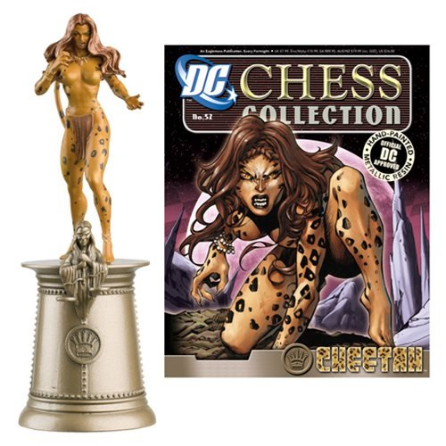 DC Superhero Cheetah Black Queen Chess Piece with Magazine