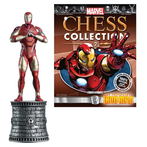 Marvel Iron Man White Bishop Chess Piece with Magazine