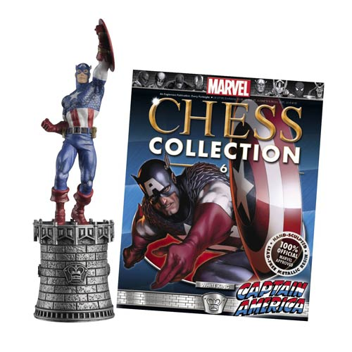 Marvel Captain America White King Chess Piece with Magazine