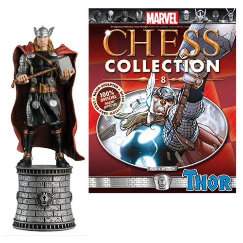 Marvel Thor White Bishop Chess Piece with Collector Magazine