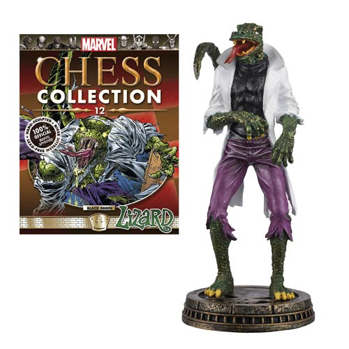 Spider-Man Lizard Black Pawn Chess Piece with Magazine