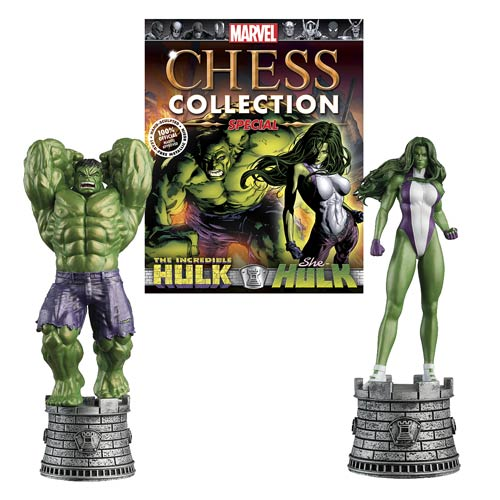 Hulk and She-Hulk Special Chess Piece with Magazine