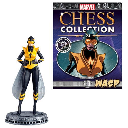 Marvel Wasp White Pawn Chess Piece with Collector Magazine