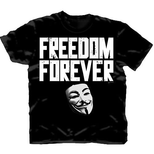 V for Vendetta Freedom Forever Black T-Shirt