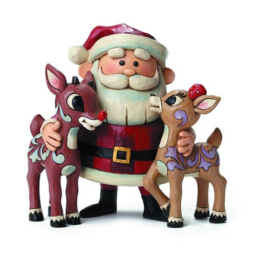 Rudolph the Red-Nosed Reindeer Santa Traditions Statue