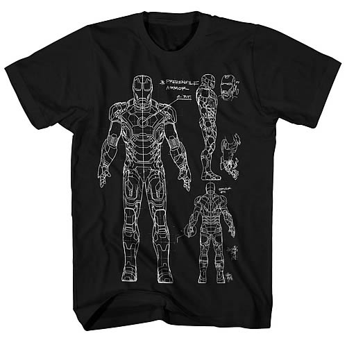 Iron Man 3 Iron Man Armor Blueprint Black T-Shirt