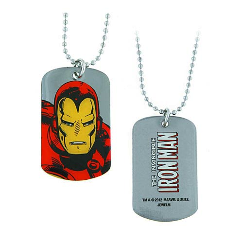 Iron Man Up Close Dog Tag Necklace