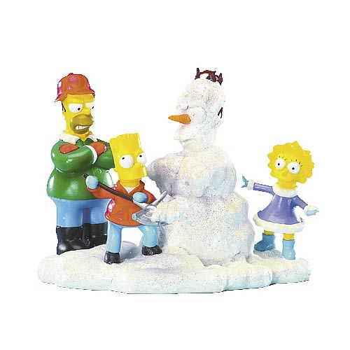 Simpsons Family Christmas Build-A-Snowman Statue