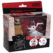 Mini-Figures > Nightmare Before Christmas - Cute Kubricks from  The Nightmare Before Christmas!     Jack Skellington in pink pajamas and his companion Zero.    Theyre fun to collect, and make great gifts, too!        Admirers of  The Nightmare Before Christmas  are sure to enjoy this delightful 2-pack of Kubricks that features Jack Skellington in pink pajamas and his companion Zero. The figures stand approximately 3-inches tall, feature multiple points of articulation, and come in displayable window boxes. Theyre fun to collect, and make great gifts, too!: Sizes