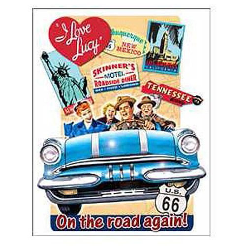 I Love Lucy On the Road Retro Tin Sign