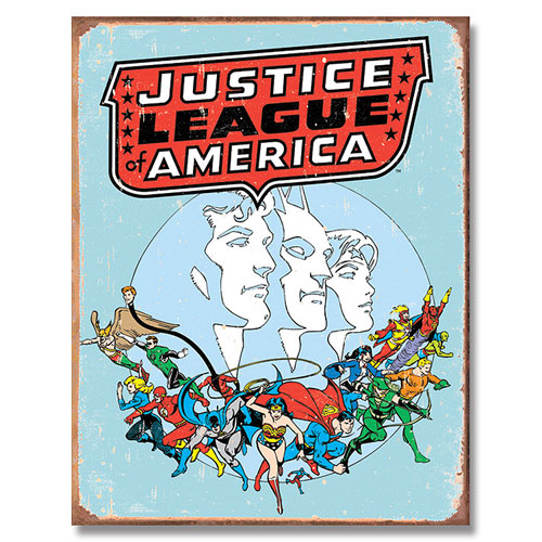 The Justice League Retro Tin Sign