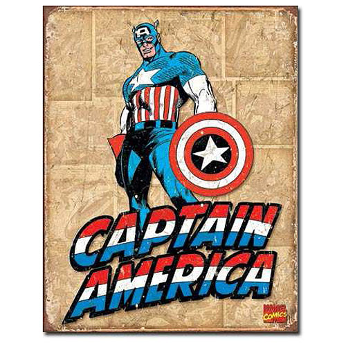Captain America Panels Marvel Comics Retro Tin Sign