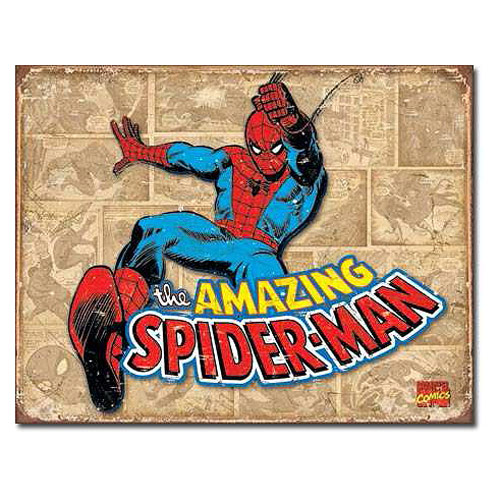 The Amazing Spider-Man Swinging Marvel Comics Retro Tin Sign