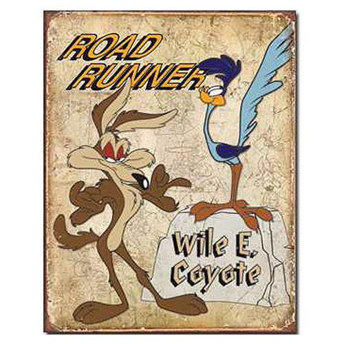 Looney Tunes Road Runner and Wile E. Coyote Retro Tin Sign