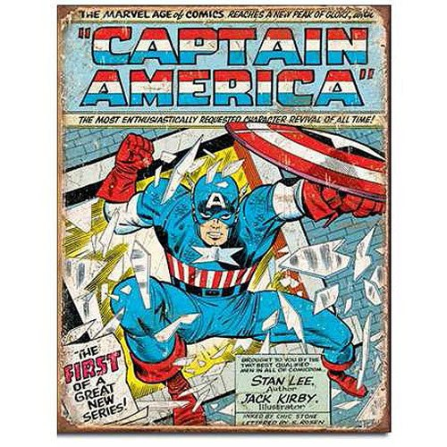Captain America Marvel Comics Cover Retro Tin Sign