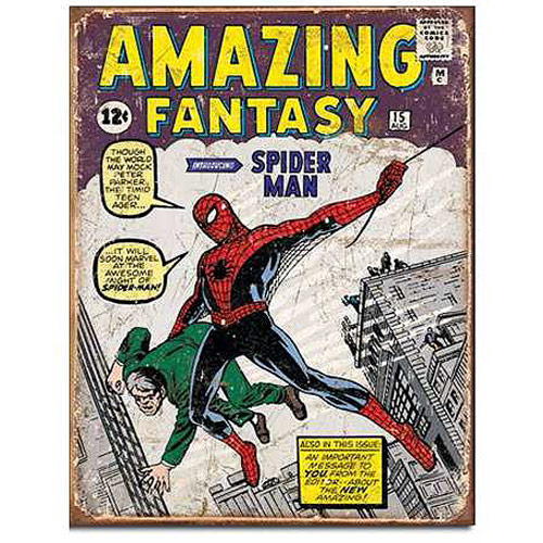 Amazing Fantasy Spider-Man Intro Marvel Comics Tin Sign