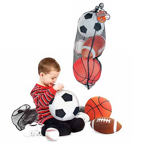 Sports Balls In A Mesh Bag Plush Toy