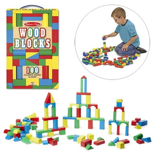 100 wooden blocks in four colors and nine shapes for your little builder to stack, build, and knock down! Bright, non-toxic colors add to construction and sorting fun. Ages 3 and up.
