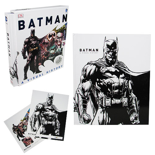 The Batman A Visual History Hardcover Book is the definitive introduction to the thrilling world of Batman. Features information detailing major storylines, heroes, and villains! This 352 page hardcover book features hundreds of images from the original Batman comics. The Batman A Visual History Hardcover Book is a must-have for fans of the Caped Crusader. Measures approximately 12 1/2-inches tall x 10 1/4-inches wide. Ages 14 and up.