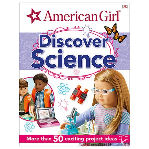 Explore the fascinating world of science and technology with your favorite American Girl characters. What are the bubbles in your bathtub made of? Why are lemons sour? What makes guitars twang and cymbals clang? Join the girls as they show us how science can explain the wonders of the everyday world around us. Many of the things that today's girls enjoy, from camping to cooking, or singing to stargazing, can be used as a starting point to delve into science. Themed pages covering nature, chemistry, physics, astronomy, and much more, are packed with images of the American Girl dolls and their accessories, as well as clear photos and explanations of real-life science. This American Girl: Discover Science Hardcover Book contains more than 50 i