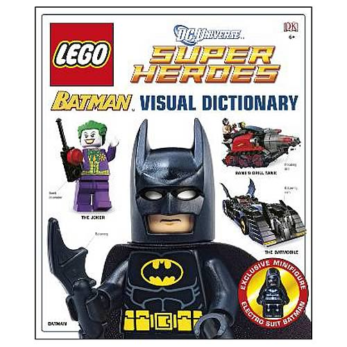 Explore LEGO Batman and the LEGO DC Universe! Includes an Electro Suit Batman LEGO minifigure. Awesome guide covers Batman, Catwoman, Robin, Joker, and more! Explore the action-packed world of LEGO Batman and LEGO DC Universe Super Heroes with this Batman Visual Dictionary with Minifigure! Not only does this awesome guide cover Batman but it also includes locations, key themes, events, villains, and related characters in Batman's world like the cunning Catwoman, the daredevil Robin, and the villainous Joker. Other famous DC characters like Wonder Woman, Superman, and Green Lantern are also featured in LEGO style. The Batman Visual Dictionary even comes with a 2-inch tall Electro Suit Batman LEGO minifigure. Whether you want to learn more ab