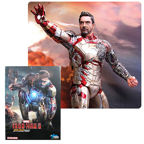 Iron Man 3 Mark 42 Battle Damage 1:9 Pre-Assembled Model Kit