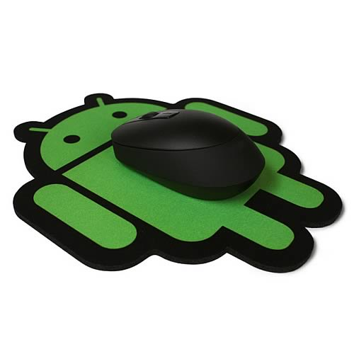 Google Android Cloth Surface Green on Black Mouse Pad
