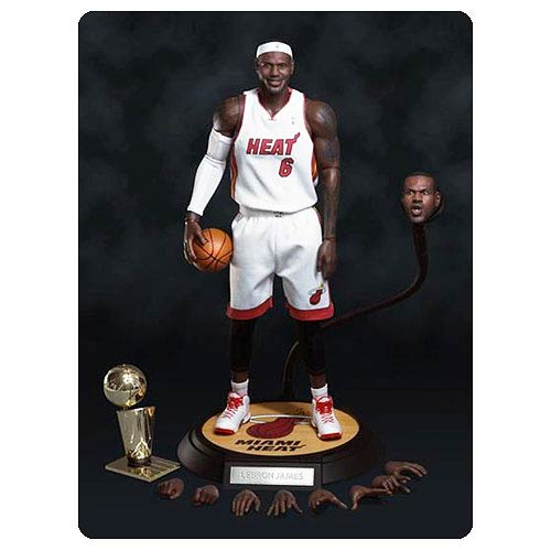 NBA LeBron James Heat White Jersey Real Masterpiece Figure