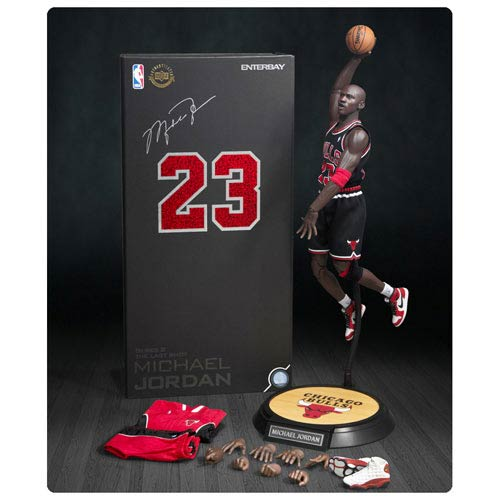 Michael Jordan Bulls 23 Black Jersey Real Masterpiece Figure