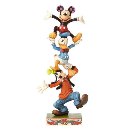 Disney Traditions Goofy Donald and Mickey Tower Statue